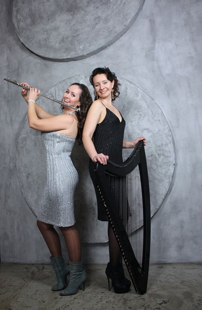 Electric harp and flute .Lilium Electric duo.